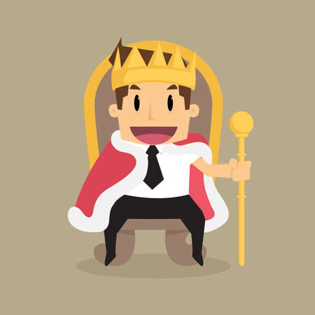 king master: A successful businessman is sitting on the throne like a king.vector