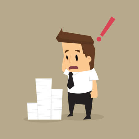 disheartened: Businessman and a lot of documents.vector