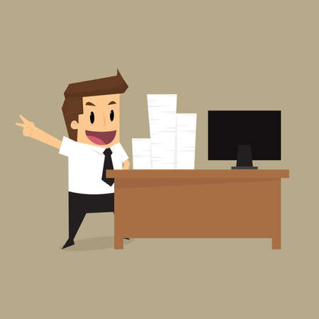hard working man: businessman Hard Working.vector