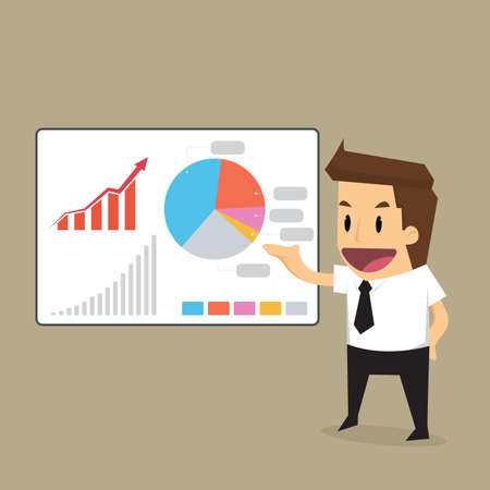 businessman presentation to graph.vector