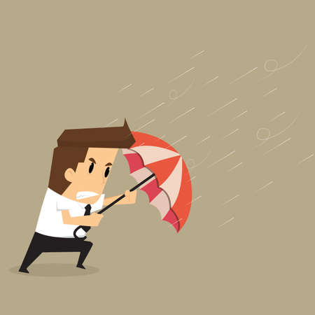 idea hurdle: businessman holding an umbrella in the middle of a rainstorm.vector