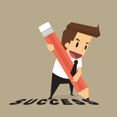 write: Businessman with pencil writing success.vector