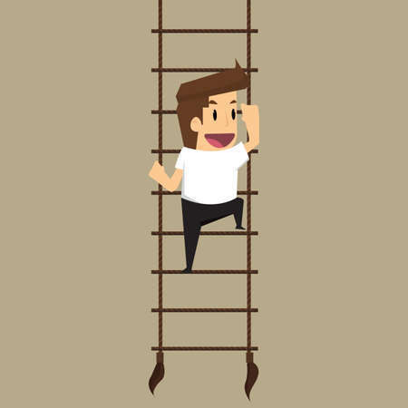 career ladder: businessman climbs upstairs for professional growth.vector