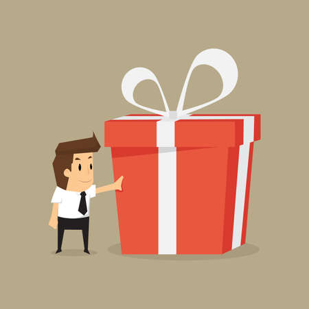 businessman and a big gift box .vector Illustration