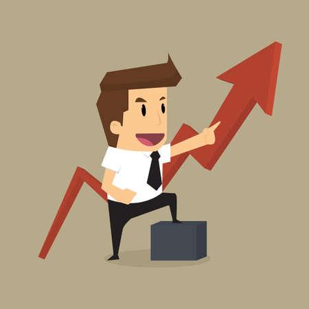 businessman arrow growing chart.vector