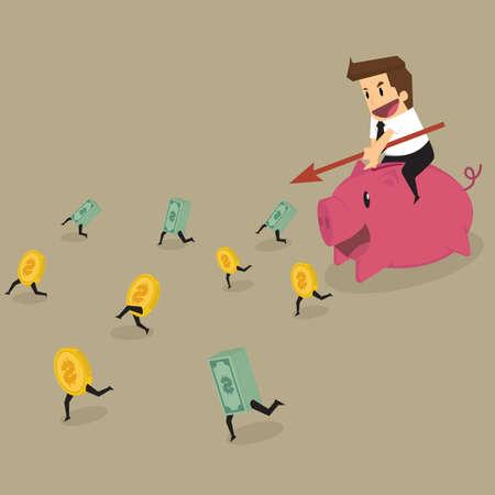 runing: businessman hunting money.vector Illustration