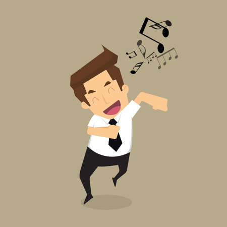 businessman singing.vector