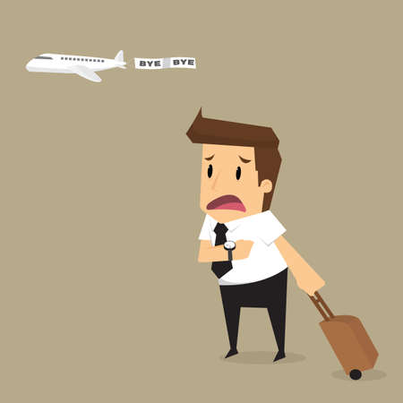 oblivious: businessman plane missing the airplane.vector