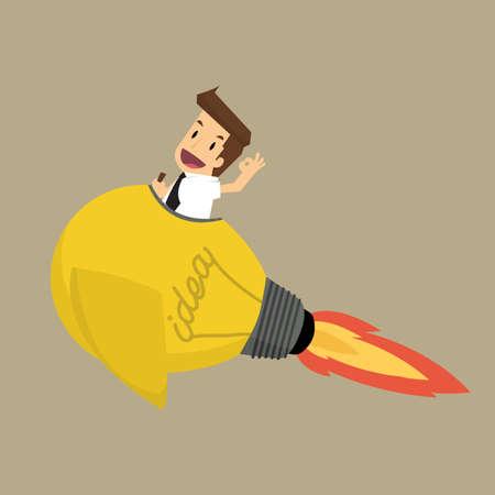 lightbulb idea: Uomo d'affari su un movimento lampadina idea rocket.vector