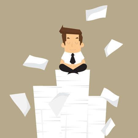 Businessman meditating in peace.vector Illustration