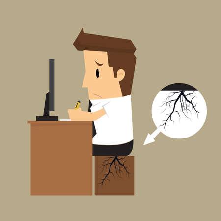 businessman seat bottom germinate root.vector