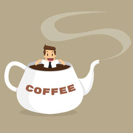 Zakenman ontspannen in koffie kettle.vector
