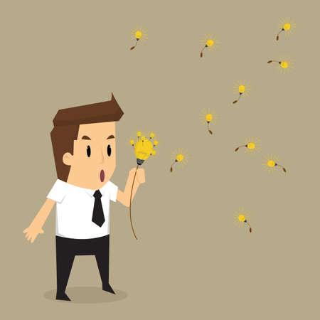 blow: businessman blow bulb idea discharge.vector Illustration