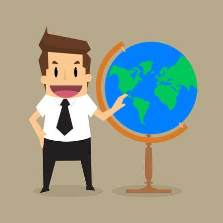 dominance: Empresario encuesta del mundo en su hands.vector