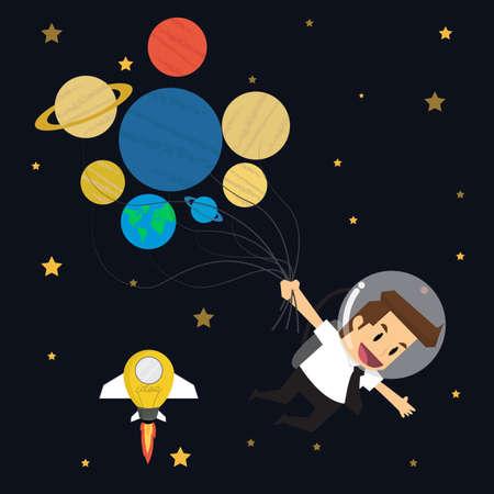 forwards: businessman survey cosmos 7 planet 7 day.vector