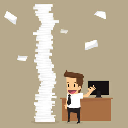 pile of papers: businessman happy a lot of work.vector Illustration