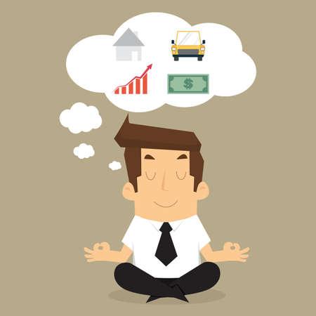 businessman meditating looking future.vector