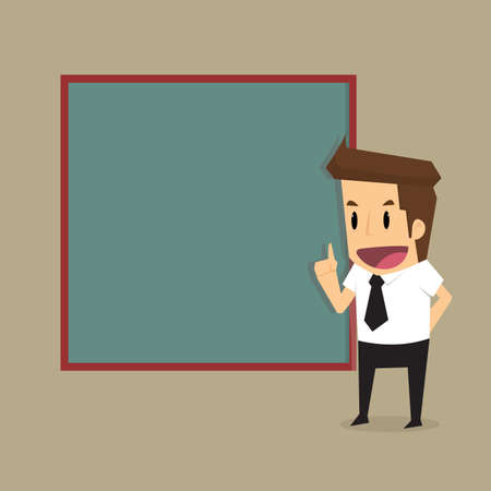 businessman presenting, black billboard with empty space. Presentation.vector