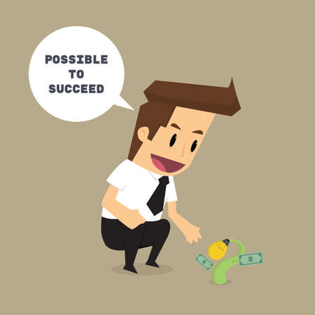 await: businessman with sprout business It is possible to succeed. future.vector
