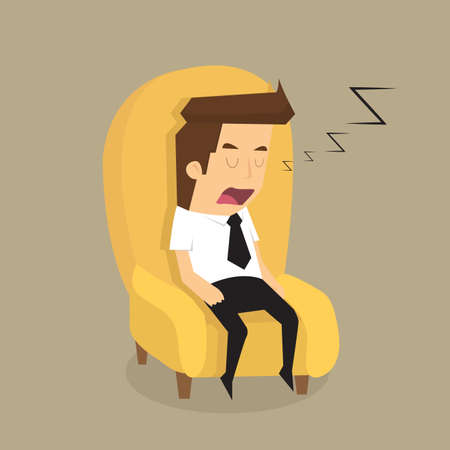 asleep: Tired overworked businessman sleeps on sofa.vector
