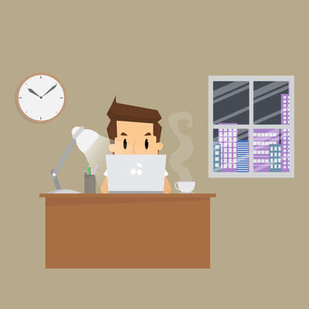 zakenman werken harde nacht in office.vector Stock Illustratie