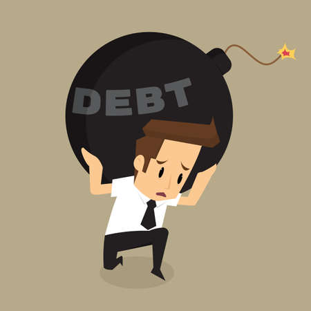 debt management: businessman  bearing debt bomb.vector Illustration