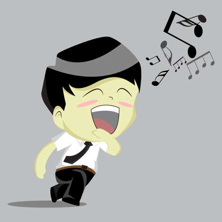 sundays: Businessman rushing singing.vector