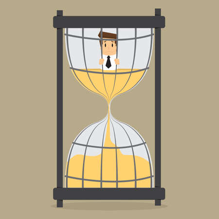 saleman: businessman in prison Hourglass time.vector