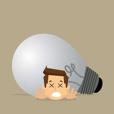 deadline: businessman with big bulb over his back in deadline concept.vector
