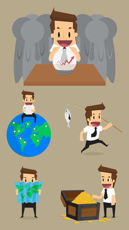 clairvoyant: Set,Businessman Character.vector