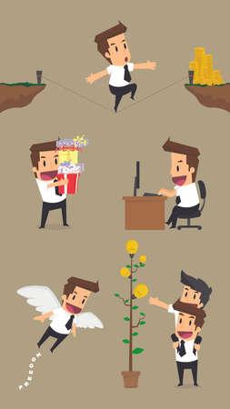 set of businessman: Set,Businessman Character.vector