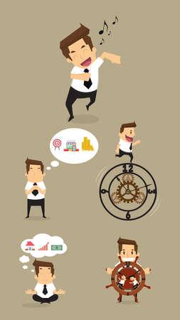 meditation man: Set,Businessman Character. vector