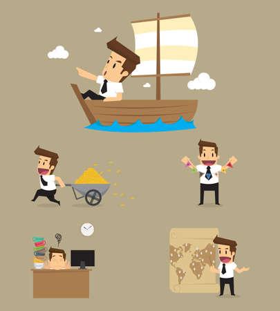set of businessman: Set,Businessman Character. vector