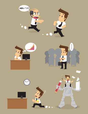 escape plan: Set,Businessman Character. vector