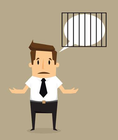 heaviness: businessman idea with imprisonment.vector