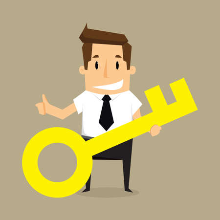 Businessman with key.vector Vector