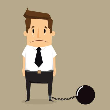 captive: businessman with imprisonment.vector Illustration
