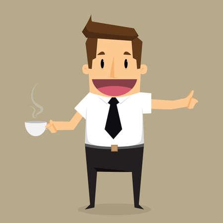 zakenman met kop van coffee.vector Stock Illustratie