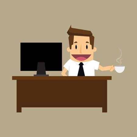 good looking: businessman with cup of coffee.vector Illustration