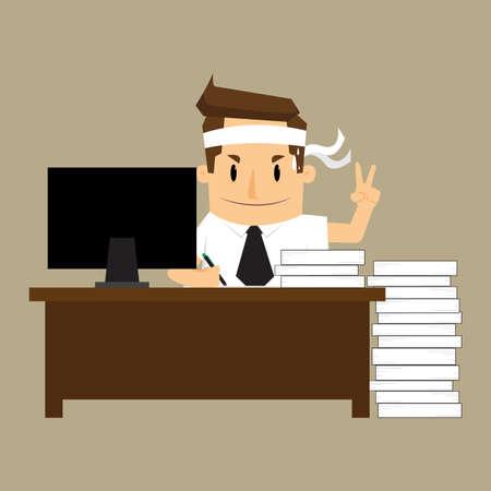businessman hard Working.vecrtor