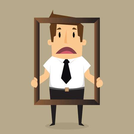 importantly: Businessman  feel bad of himself inside a frame