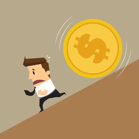 avarice: Businessman running Money attack.vector