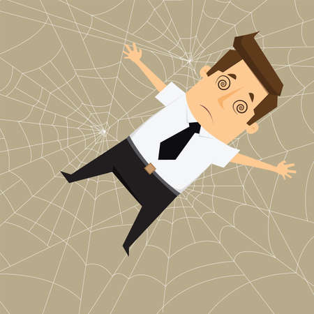 Businessman Trapped in webs Çizim