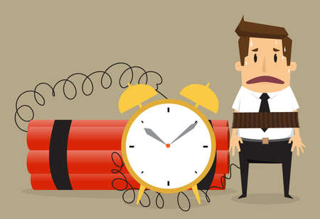 Young businessman  with binding time bomb, Business concept.vector Çizim