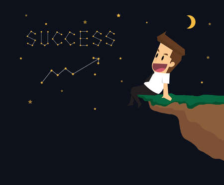 succeed: businessman write succeed in the universe. Astronomy. vector Illustration