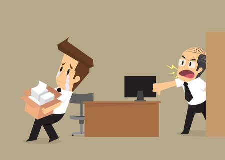 bad idea: businessman had been fired from his job. vector Illustration