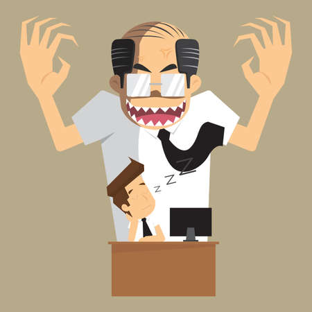 angry boss: boss angry transform to devil businessman was asleep during work. vector