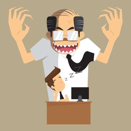 jefe enojado: jefe enojado transformar al diablo empresario estaba dormido durante el trabajo. vector