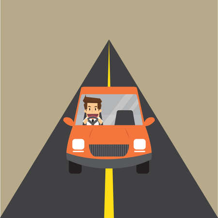 conveniently: Businessman travel by car. vector Illustration