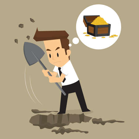 digging: businessman dig for treasure. vector